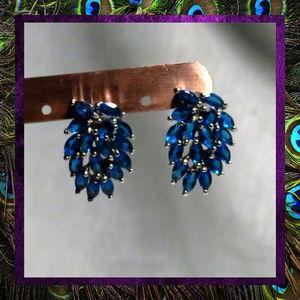 Brilliant Blue Gemstone Large Cluster Earrings
